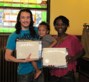 A CHPC family after completing a parenting class.